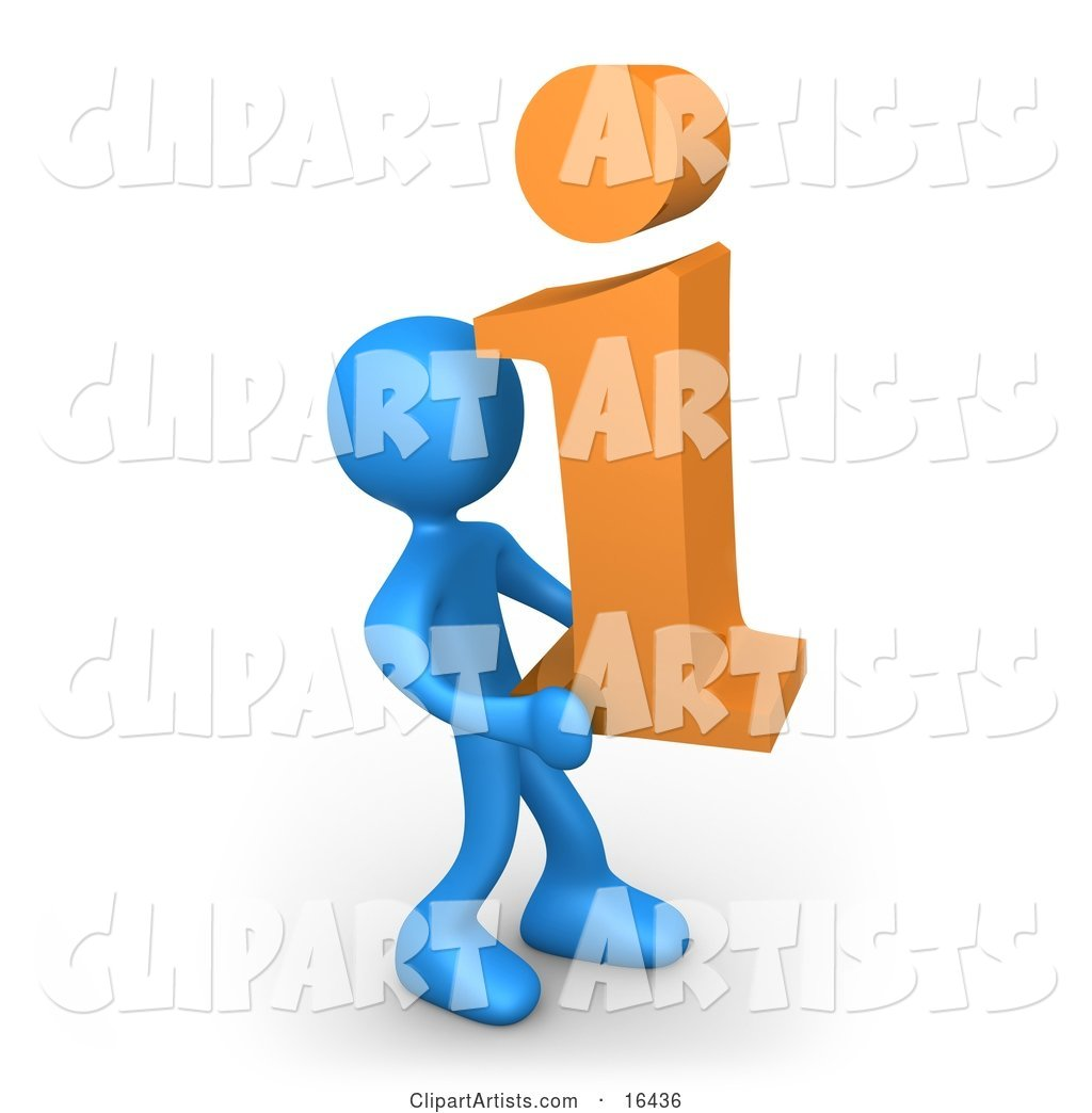 Blue Person Carrying an Orange I for Information
