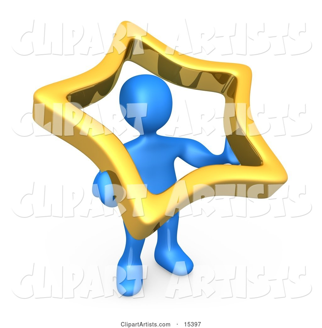 Blue Person Holding up a Golden Star to Symbolize That They Are Famous