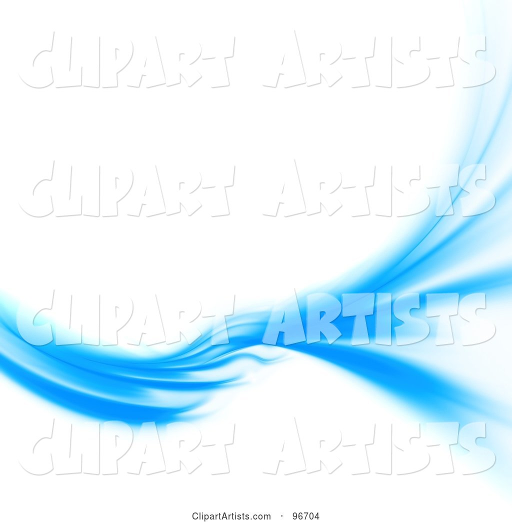 Blue Swoosh Turning and Spreading over White