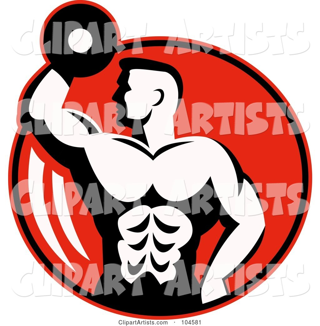 Bodybuilder with a Dumbbell Logo