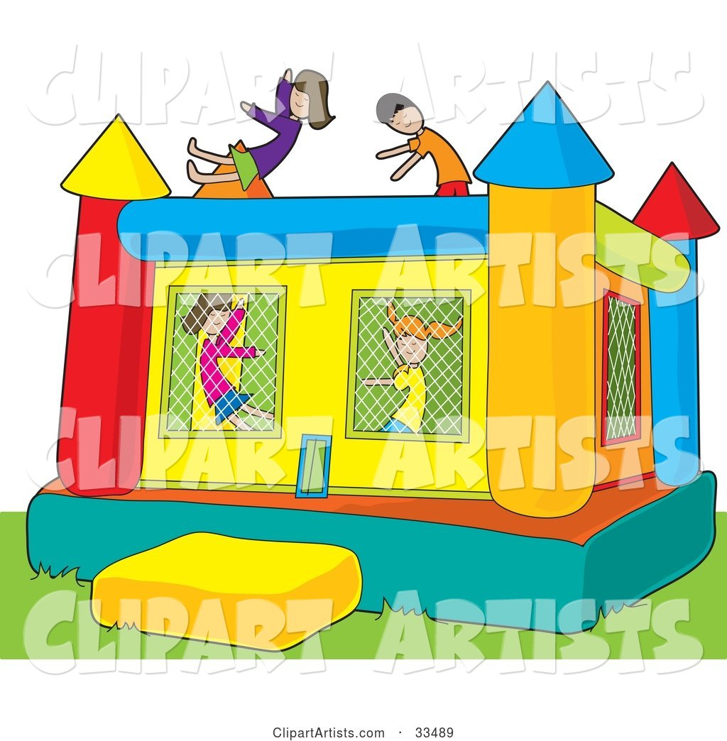 Boys and Girls Jumping in a Colorful Inflatable Bouncy Castle on Grass