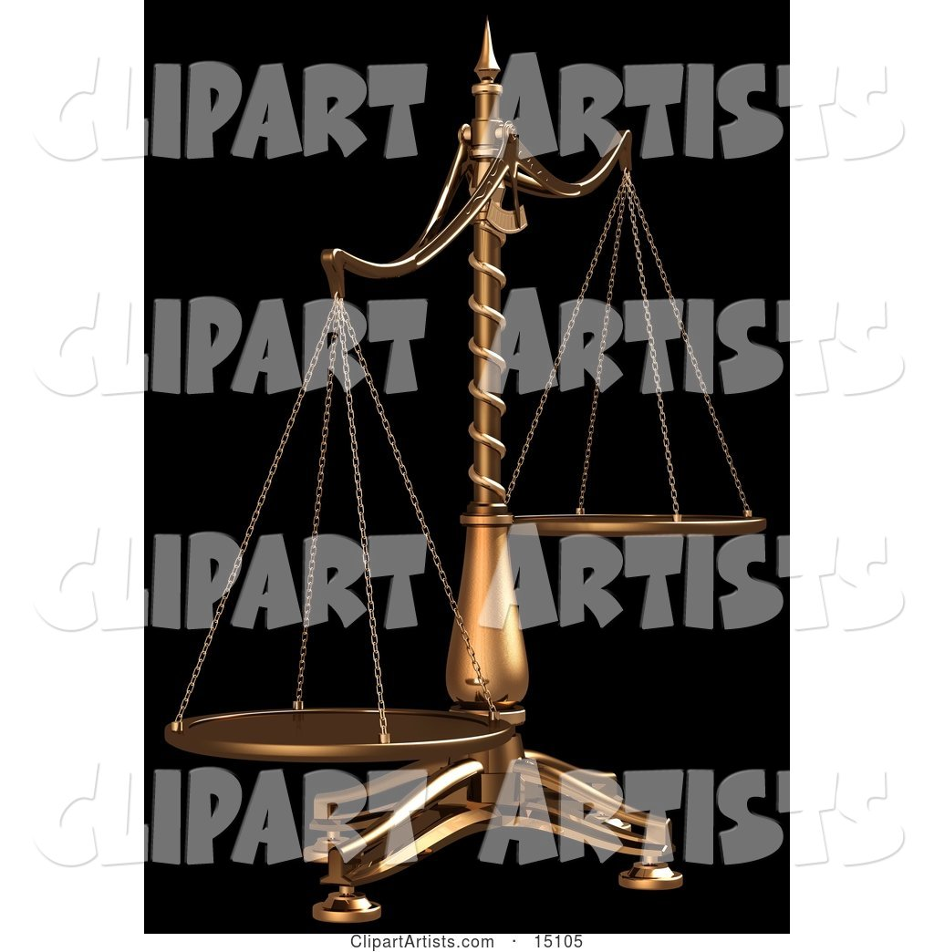 Brass Scales of Justice off Balance, Symbolizing Injustice, on a Black Background