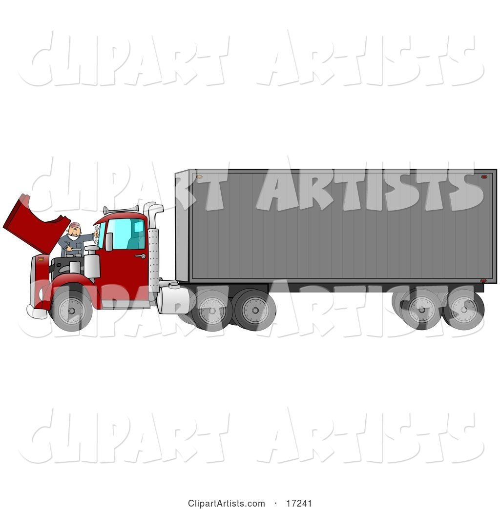 Caucasian Mechanic Man in Coveralls and a Red Hat, Working on the Engine of a Big Red 18 Wheeler Semi Truck