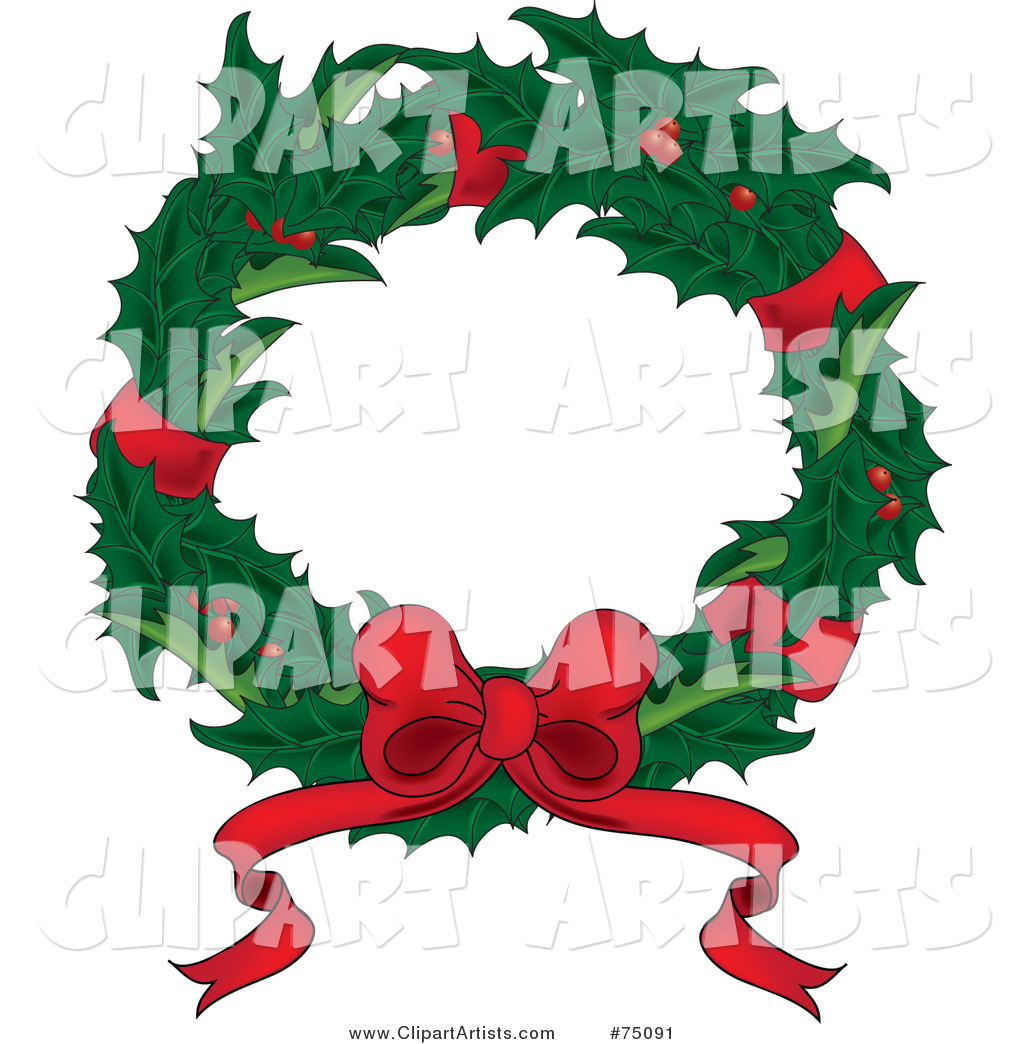 Christmas Wreath of Holly, Red Ribbons and a Bow
