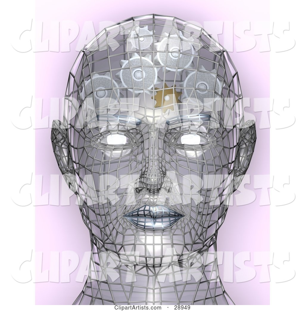 Chrome Wire Head with Glowing Eyes and Gears Working in the Brain, Symbolizing Creativity Artificial Intelligence, and Knowledge