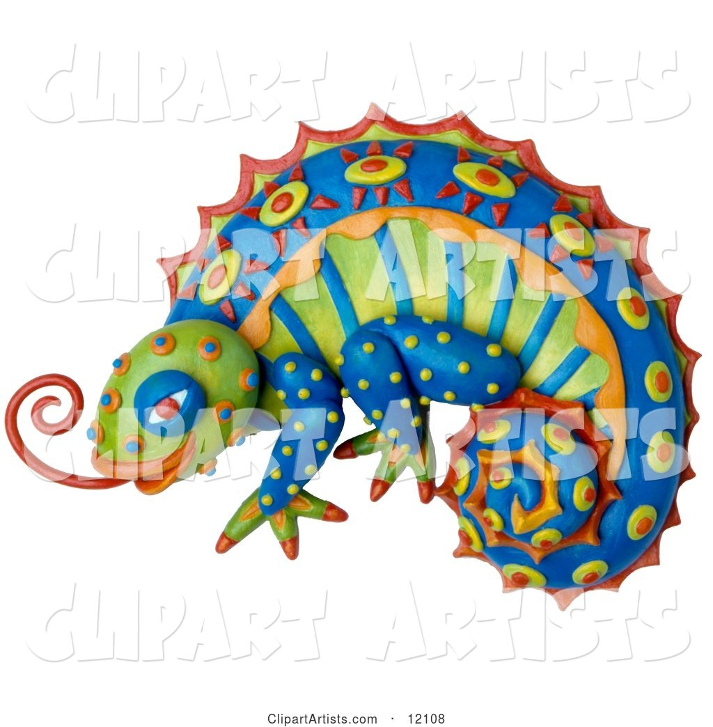 Clay Sculpture of a Colorful Chameleon Lizard with Bright Decorative Patterns, Sticking out Its Tongue