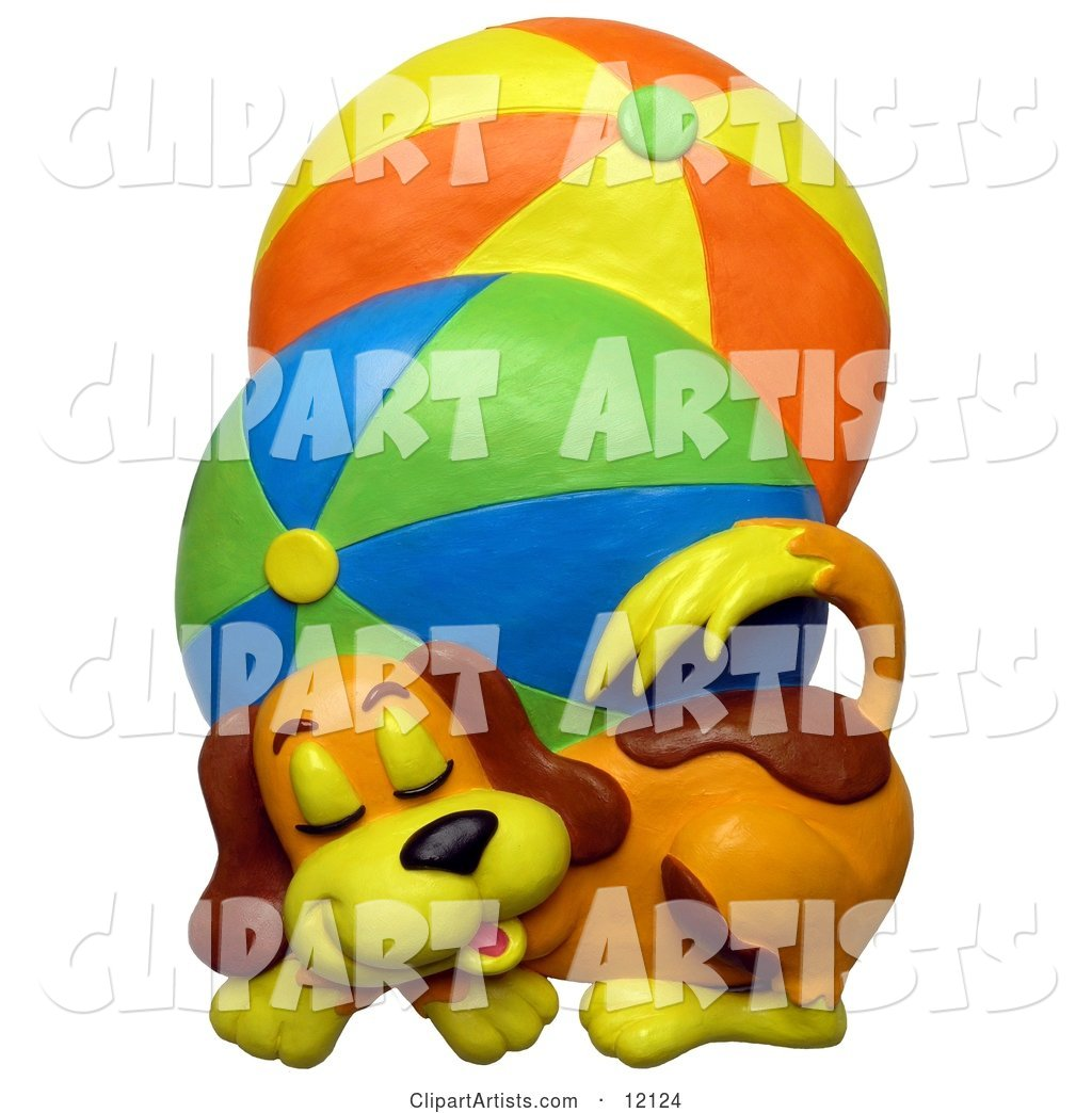 Clay Sculpture of a Cute Puppy Dog Sleeping Next to Two Large Brightly Colored Beach Balls