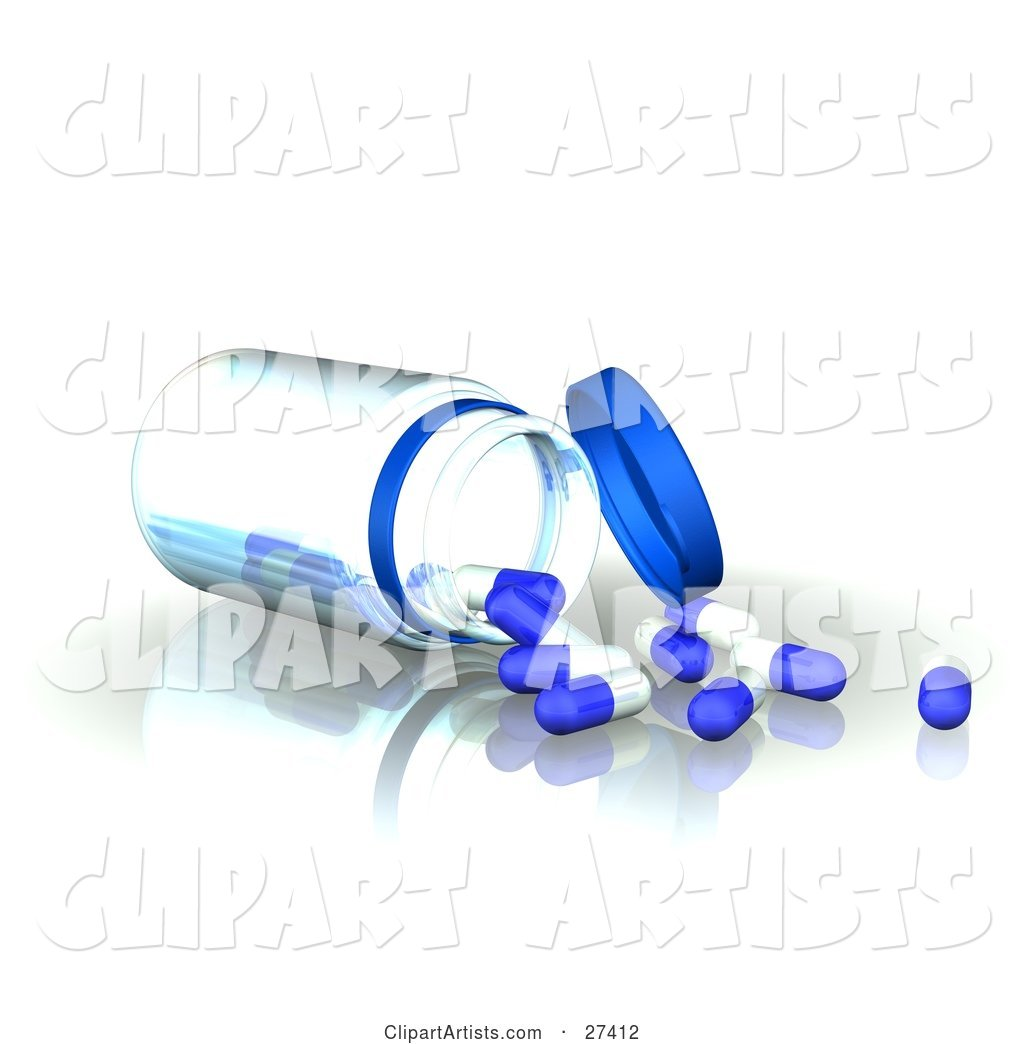 Clear Bottle Tipped over on a Reflective Surface with White and Blue Pill Capsules Spilling out