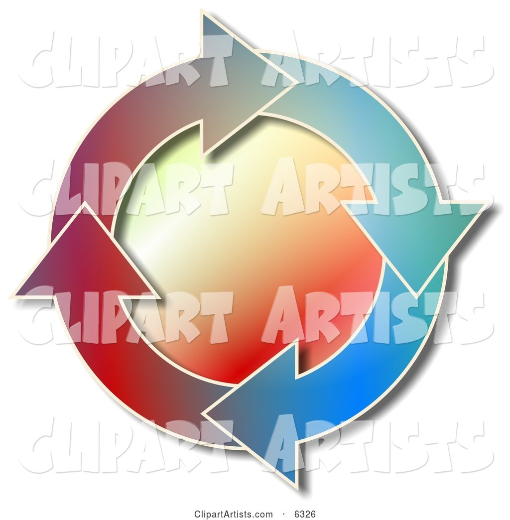 Colorful Recycle Arrows Moving in a Circular Clockwise Motion