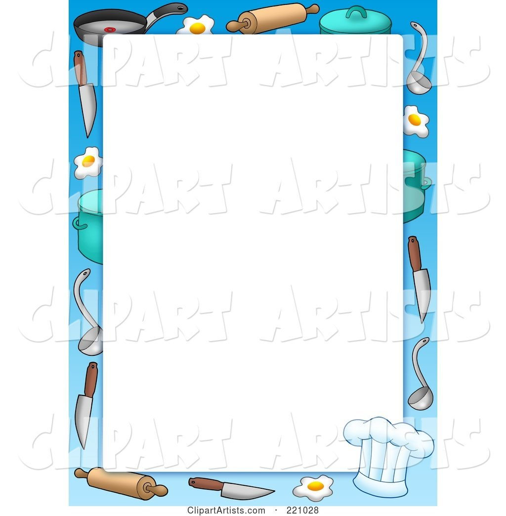 Cooking Items Frame or Border Around White Space