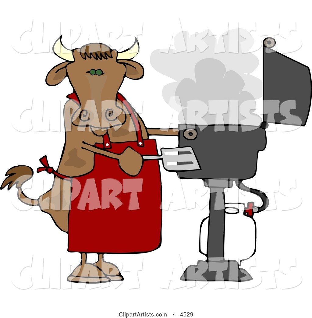 Cow Cooking BBQ on an Outdoor Propane Grill