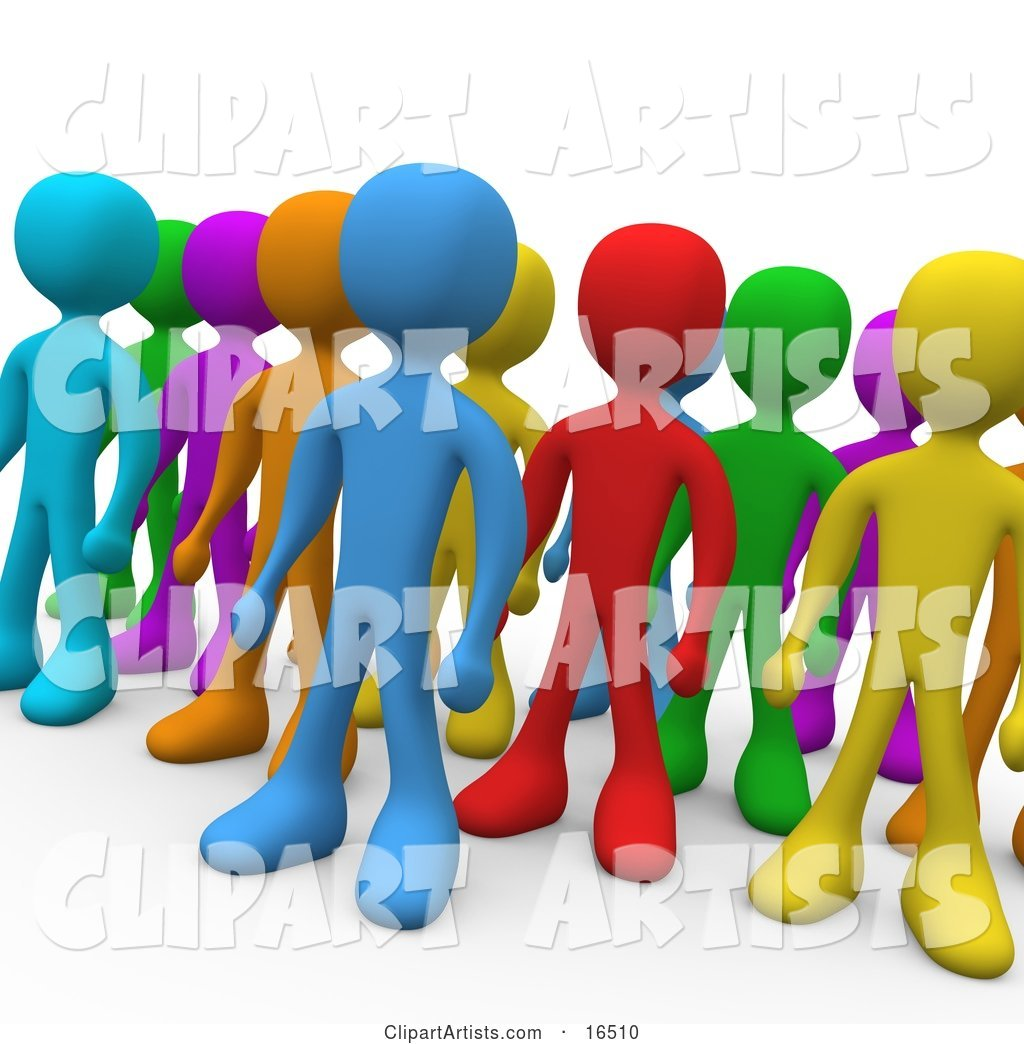 Crowd of Diverse and Different Colored People Standing in a Group