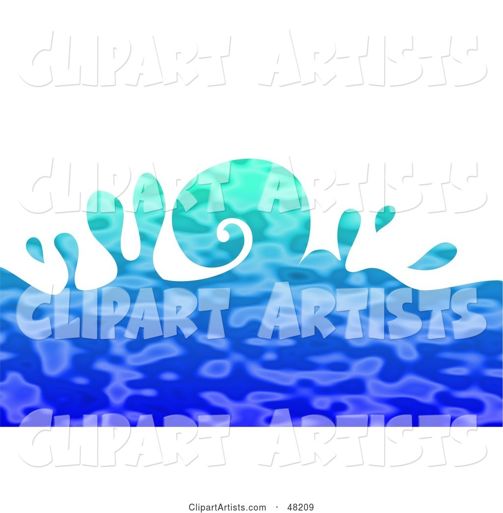 Curling Blue Rippling Ocean Wave on White