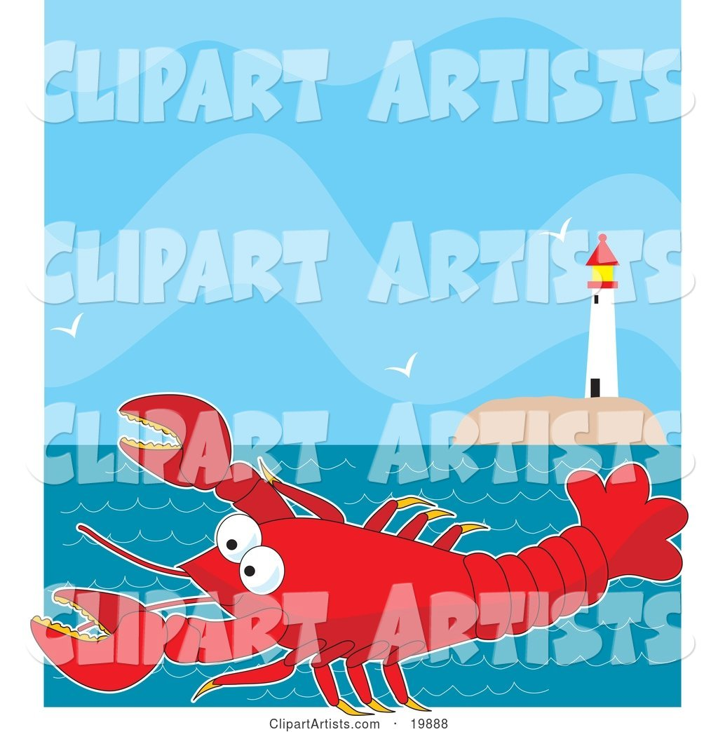 Cute, Big, Red Lobster Cartoon Character Swimming in the Sea near a Lighthouse with Flying Seagulls