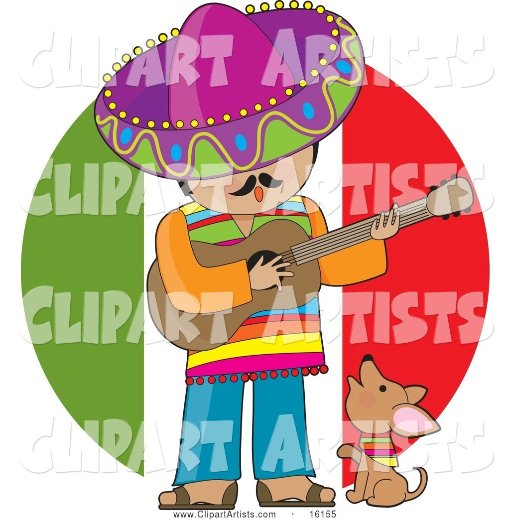 Cute Little Chihuahua Puppy Dog Wearing a Colorful Bandana Around Its Neck, Howling and Sitting at the Feet of a Male Mexican Musician Who Is Wearing Colorful Clothes and a Sombrero, Singing and Playing a Guitar
