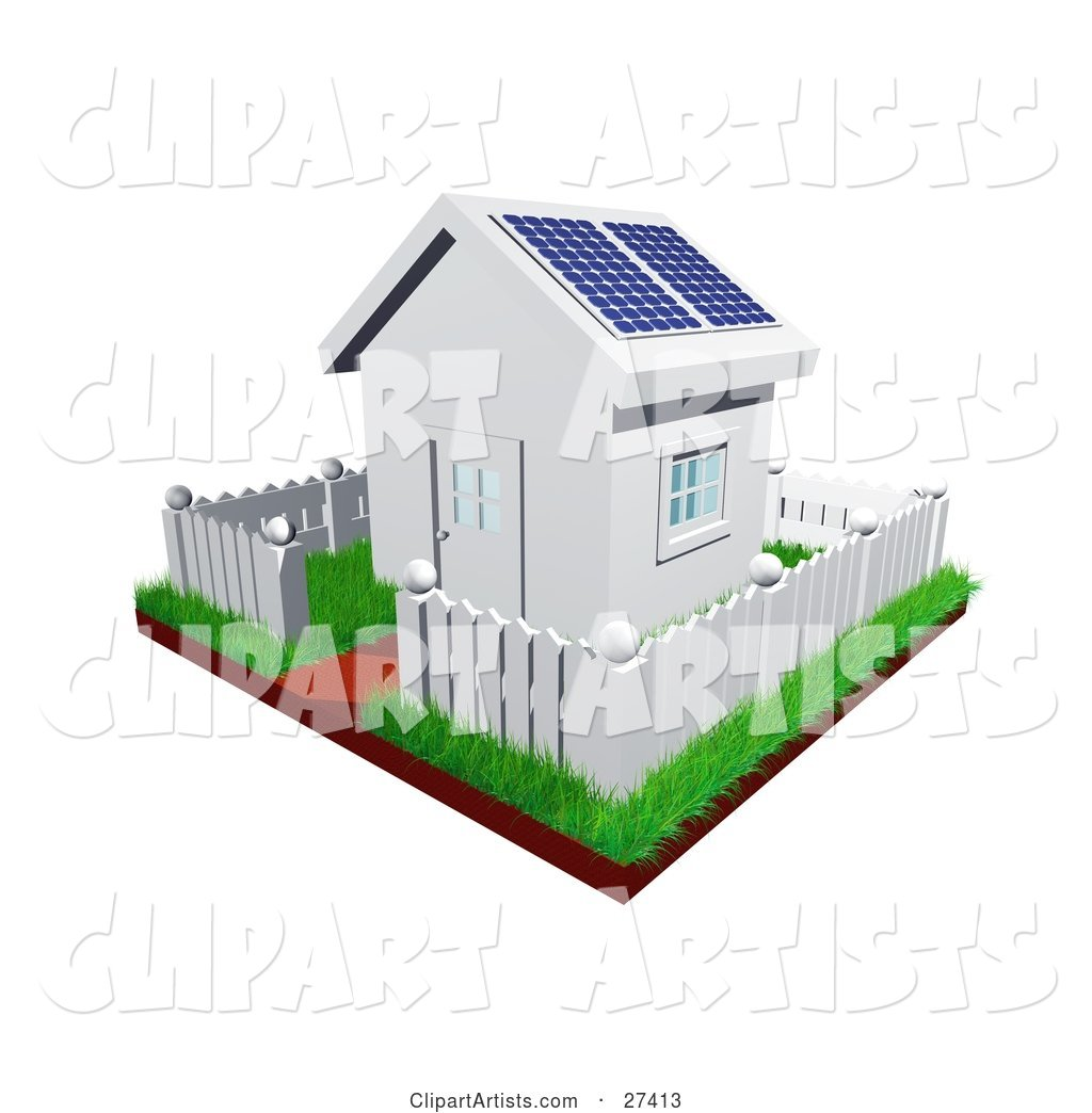 Cute Little White House with Green Grass, a Picket Fence and Solar Panels on the Roof