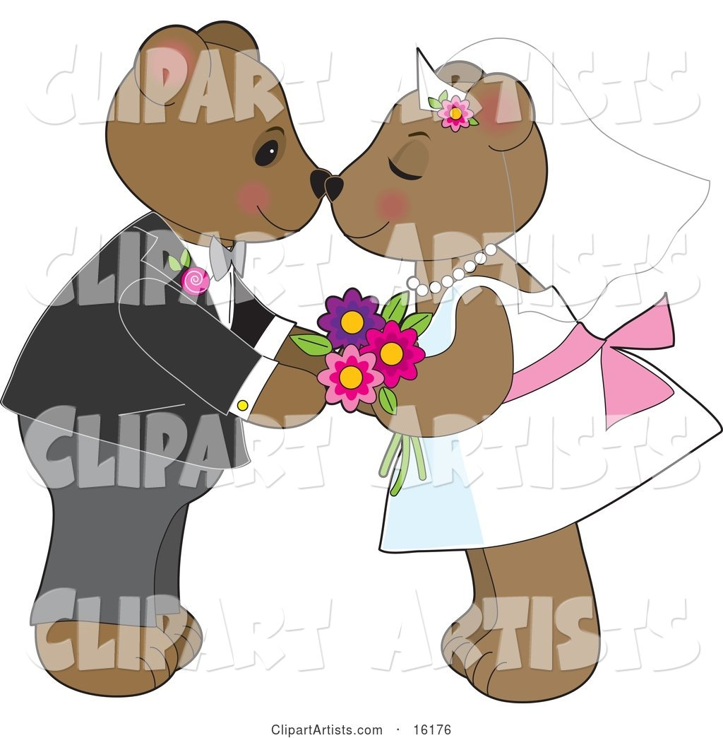 Cute Teddy Bear Bride and Groom Couple Kissing and Rubbing Noses at Their Wedding