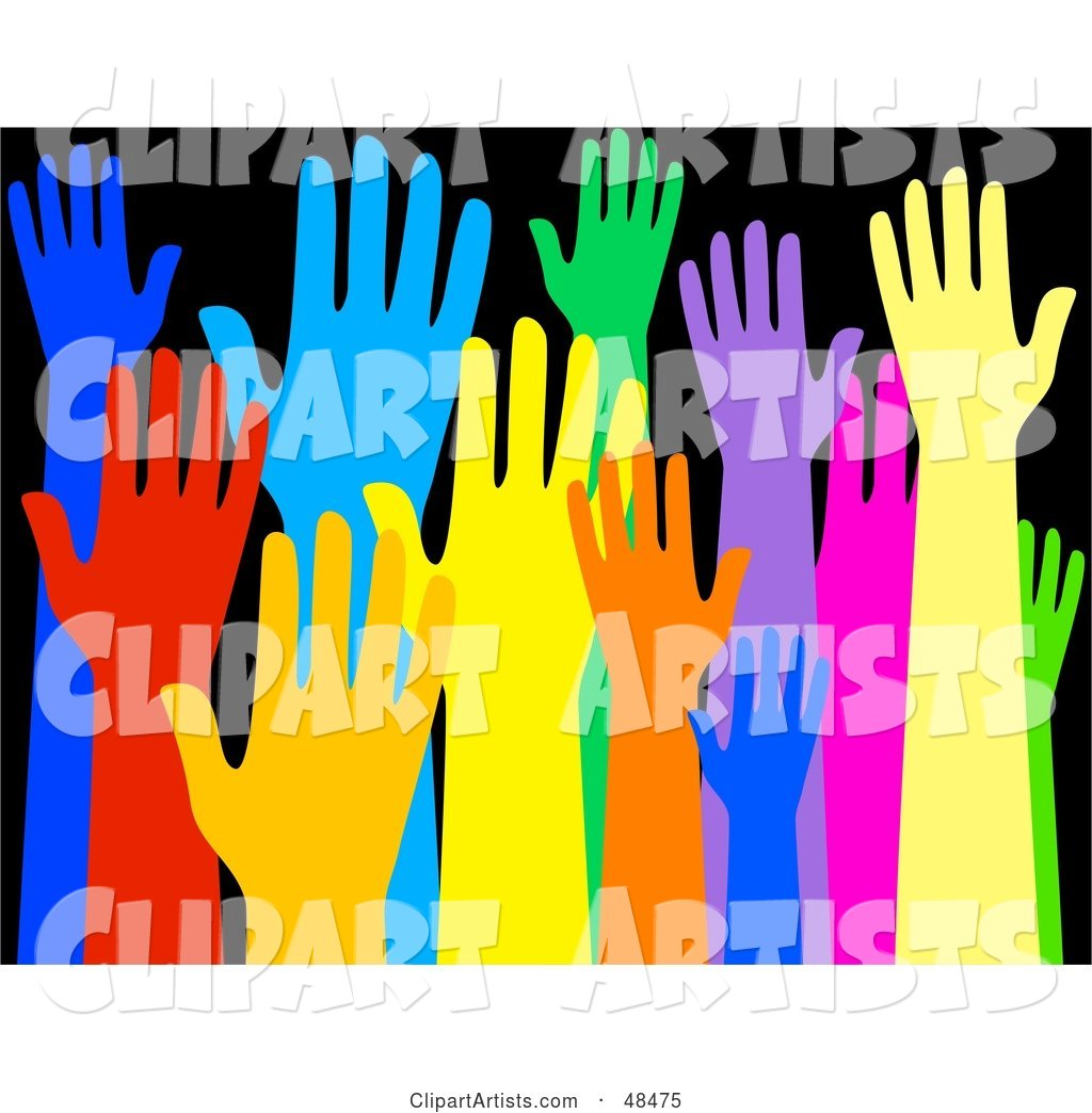 Diverse and Colorful Group of Raised Hands on Black
