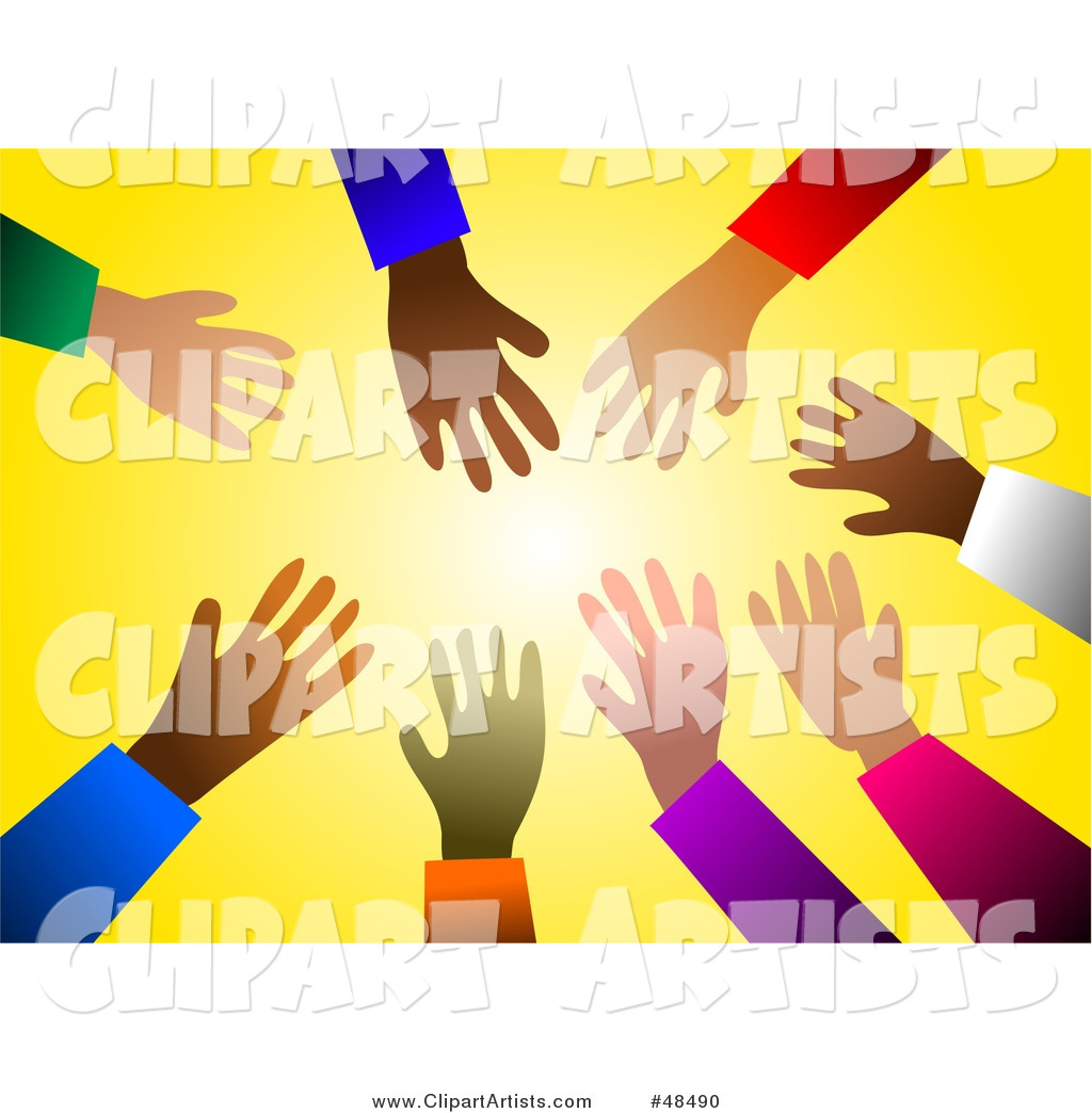 Diverse Ethnic Hands Reaching in Towards Light, over Yellow
