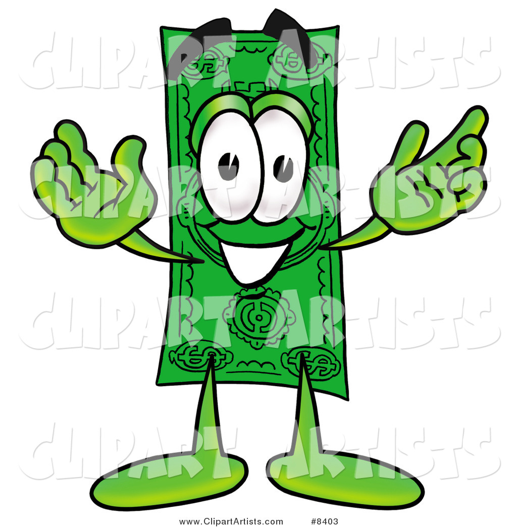 Dollar Bill Mascot Cartoon Character with Welcoming Open Arms
