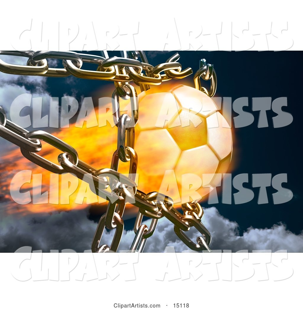 Feiry Soccer Ball Breaking Through Metal Chains While Making a Goal, Symbolizing Breaking Free, Speed, Strength, Victory, and Success