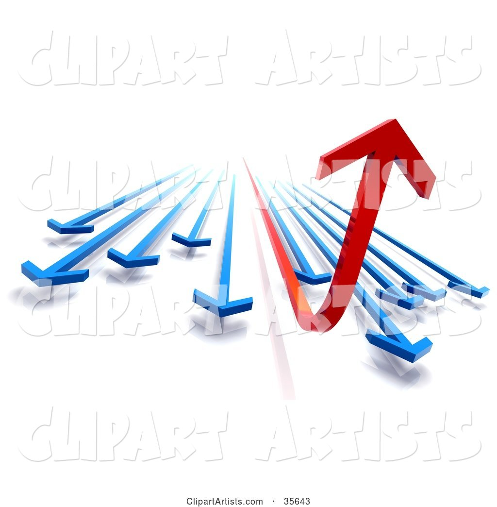 Financial Diagram of Red and Blue Arrows Rushing Forward, the Red One Curving up