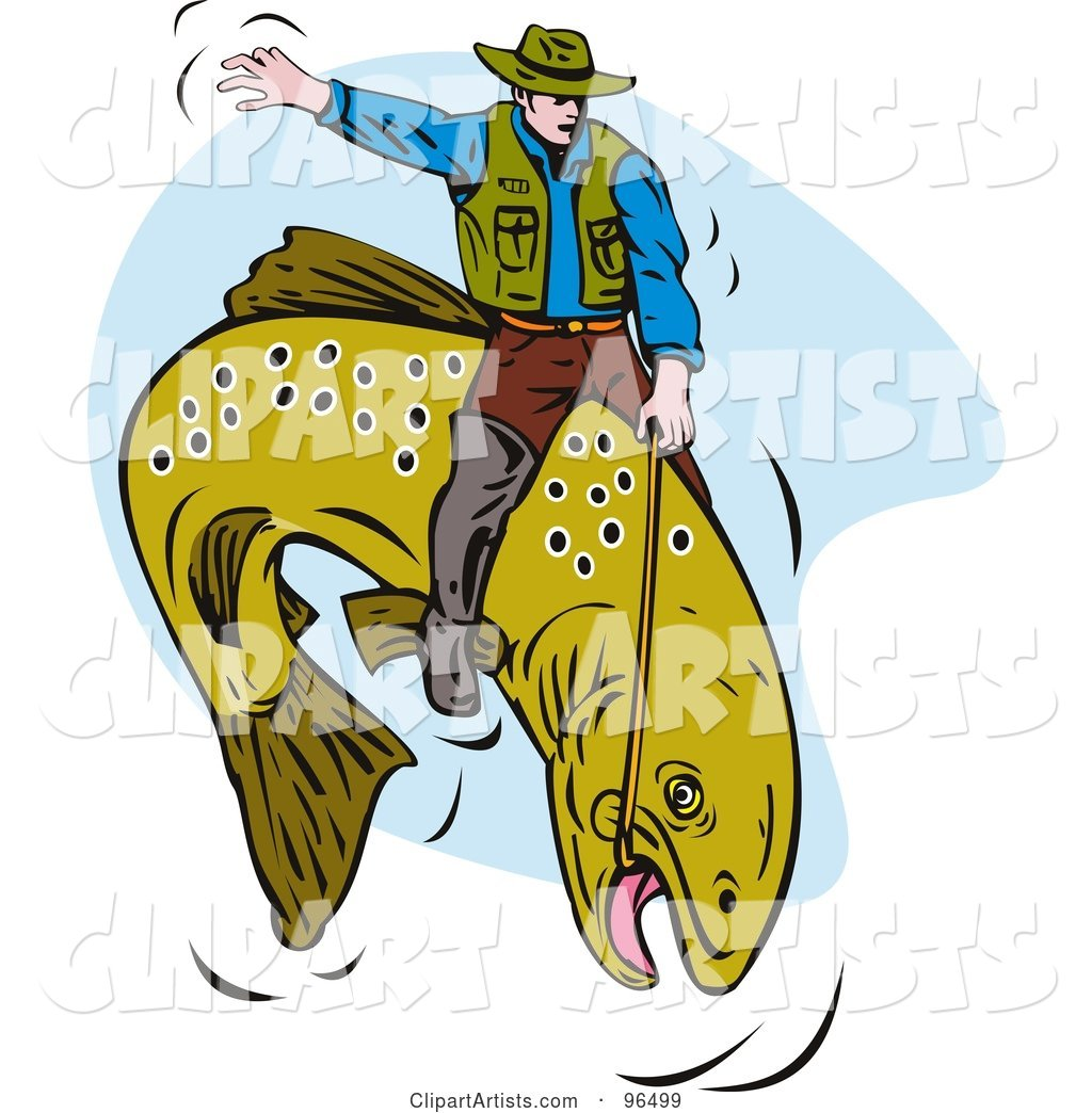 Fisherman Riding a Trout like a Cowboy at the Rodeo