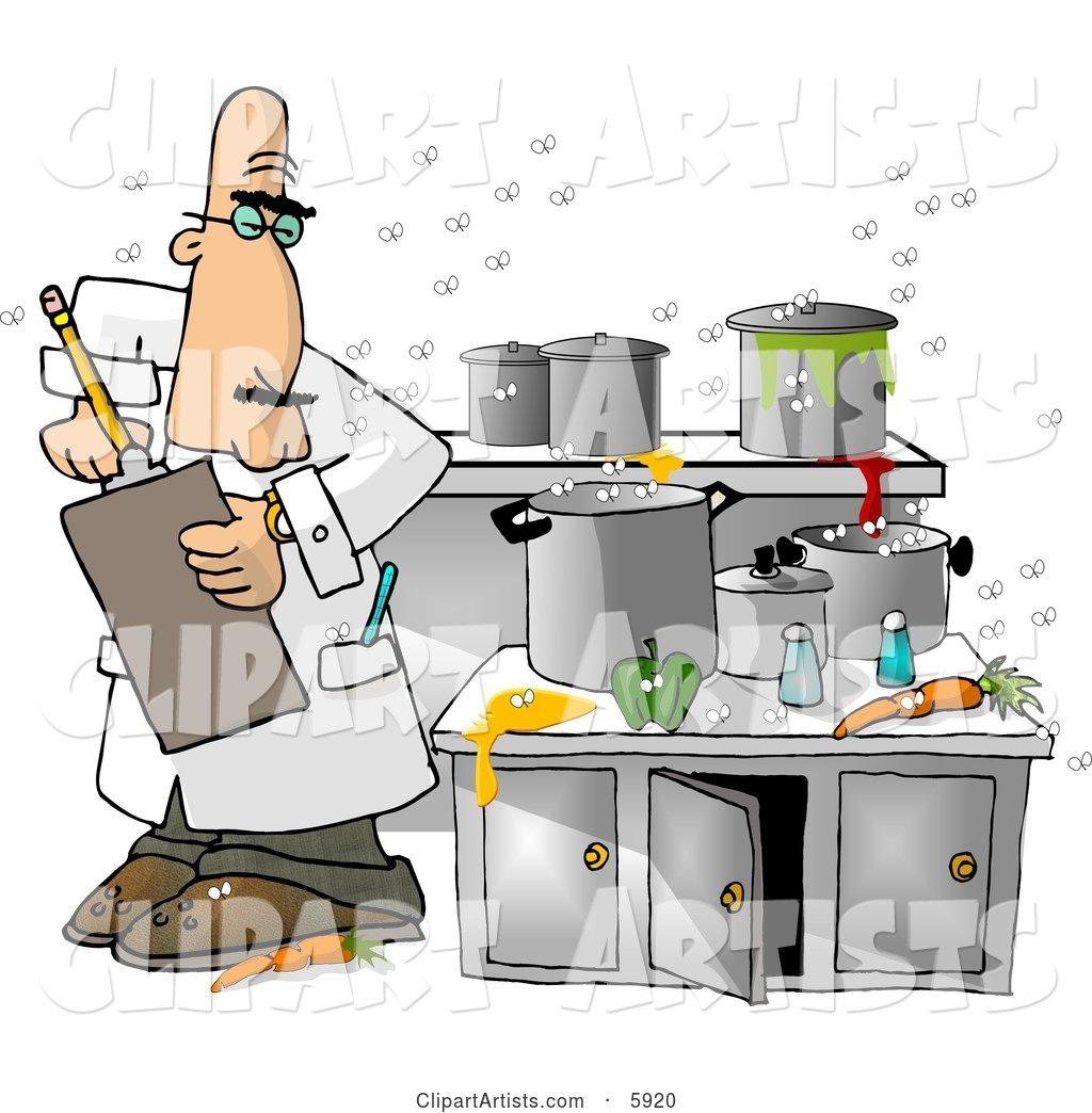 Food Health Inspector Inspecting a Dirty Kitchen at a Restaurant
