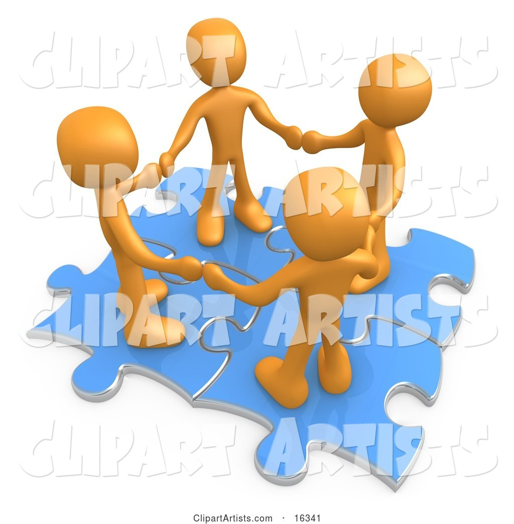 Four Orange People Holding Hands While Standing on Connected Blue Puzzle Pieces, Symbolizing Teamwork, and Interlinking for Seo Website Marketing