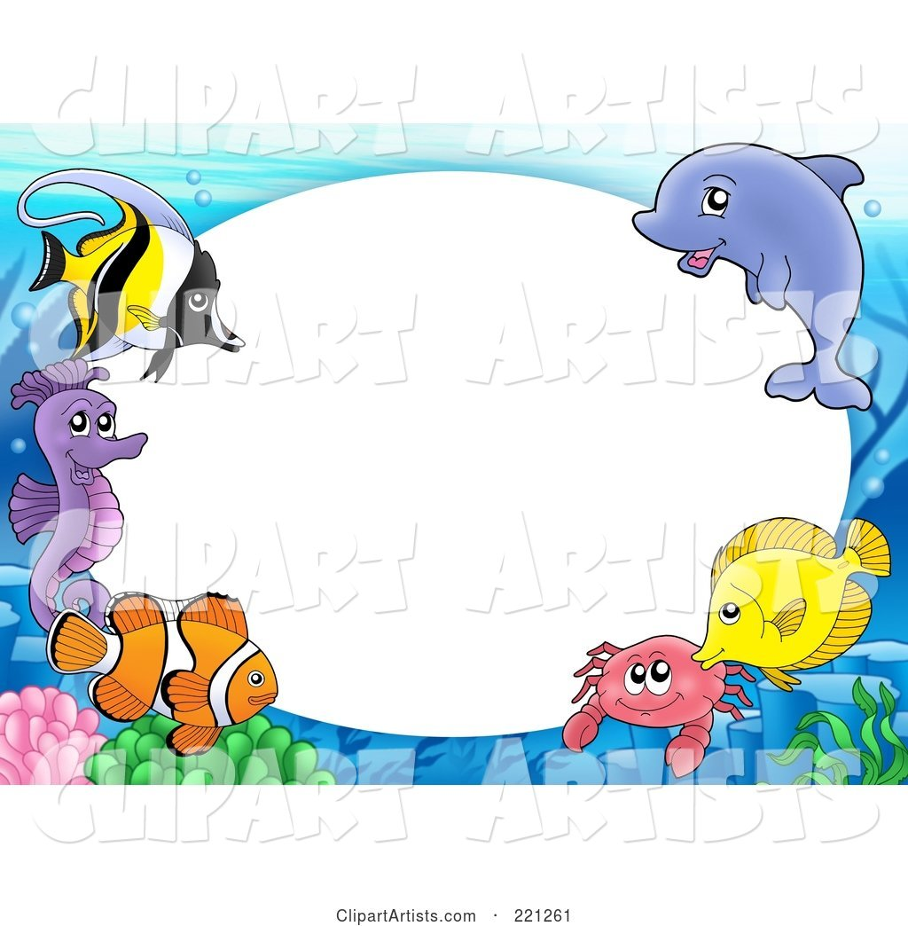 Frame Of Marine Fish, A Dolphin, Crab And Seahorse Around Oval White ...