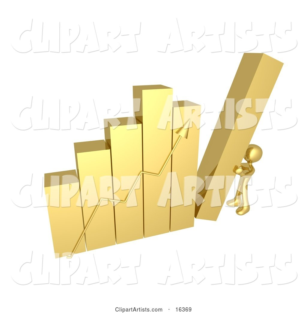 Gold Person Pushing up the Last Column on a Bar Graph Chart, Symbolizing Effort and Success