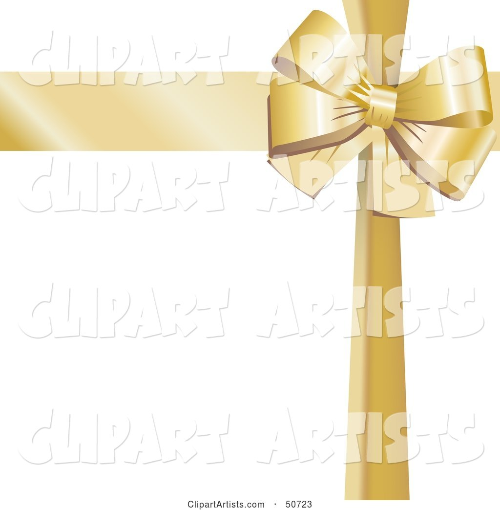 Gold Ribbon and Bow Around a White Gift