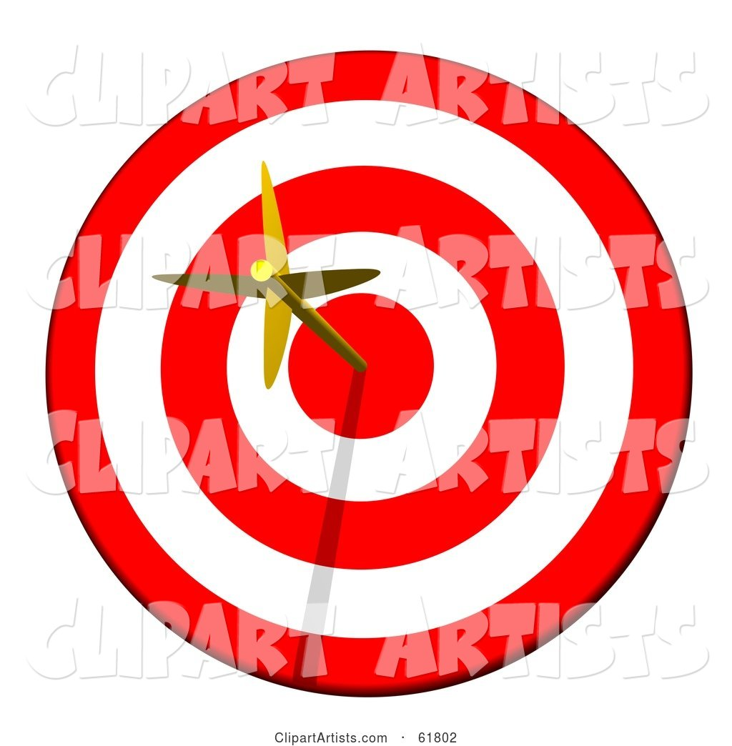 Golden Arrow Straight in the Bullseye on a Red and White Target