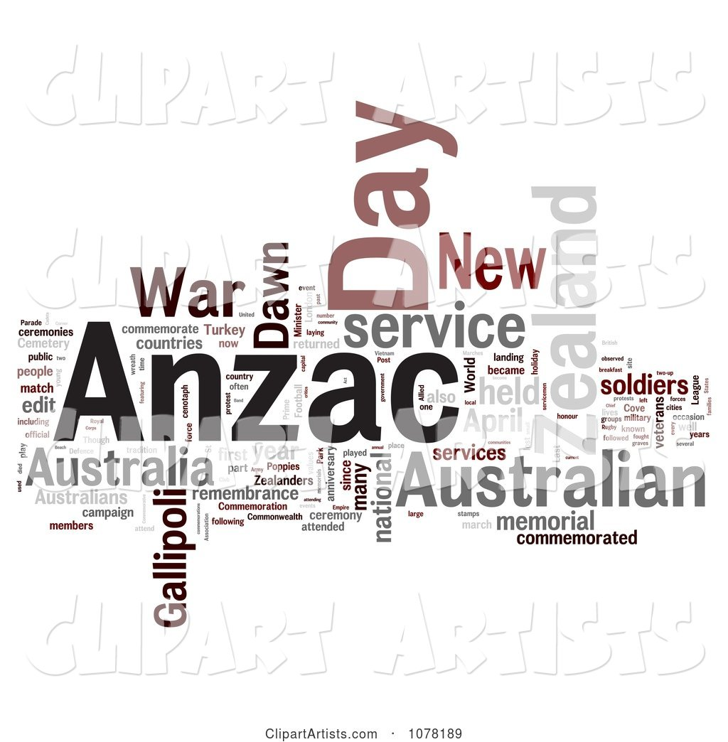 Gray Red and Black Anzac Day Word Collage
