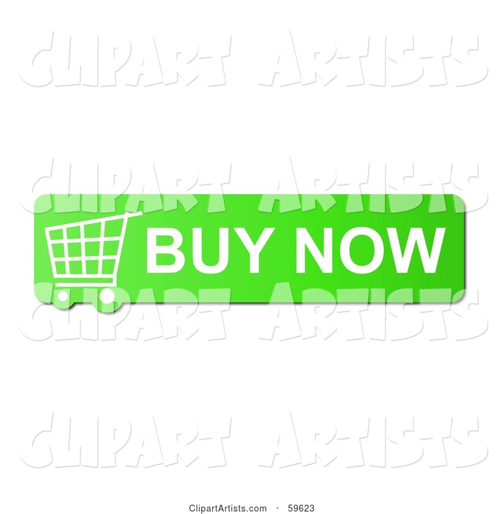 Green Buy Now Shopping Cart Button Icon on White