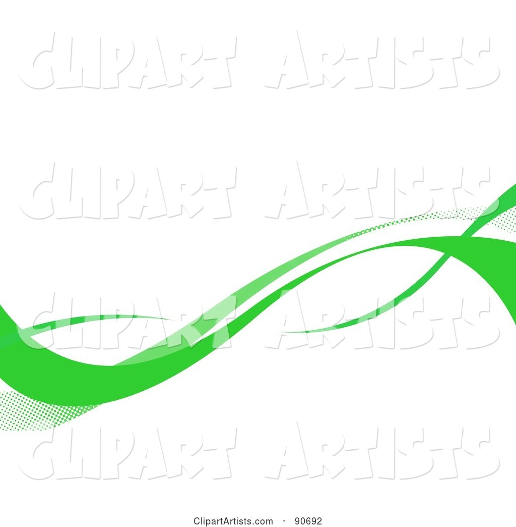 Green Swooshes over a White Background
