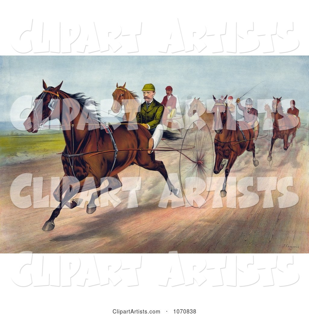 Group of Men Racing Horses with Dust Rising on the Track