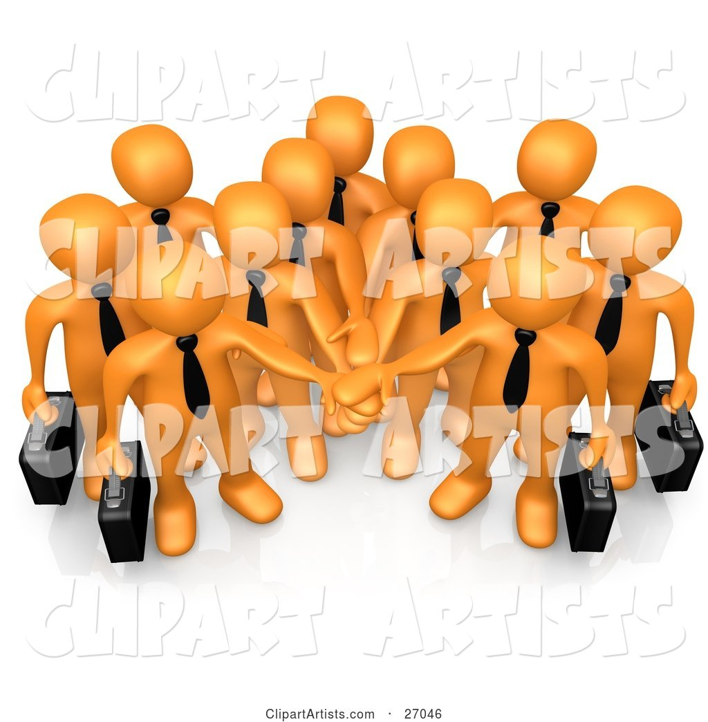 Group of Orange Business People Carrying Briefcases and Standing with Their Hands Piled, Symbolizing Teamwork, Cooperation, Support, Unity and Goals