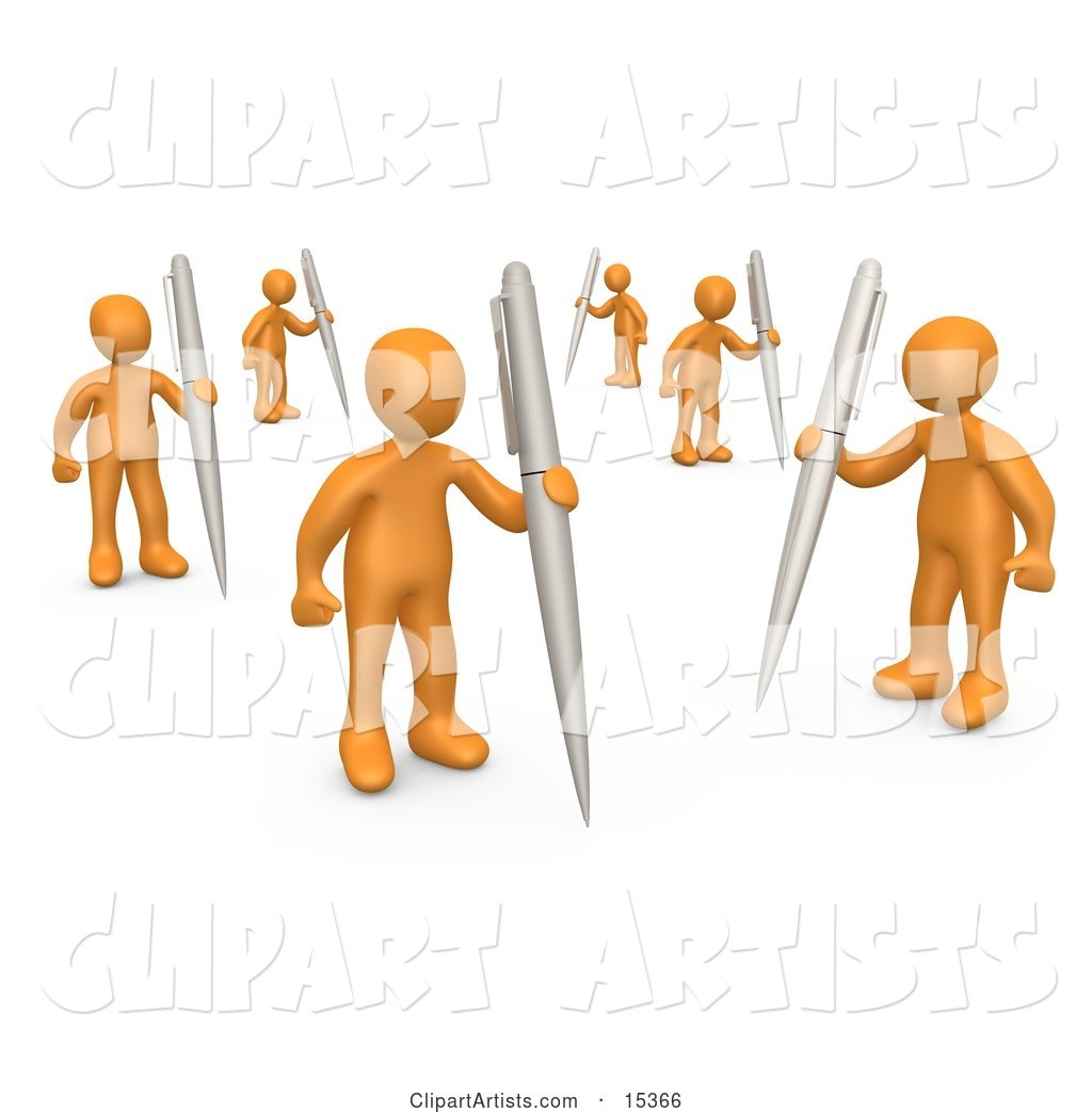 Group of Orange People Holding Their Own Pens As a Metaphor for Writing in a Community Forum