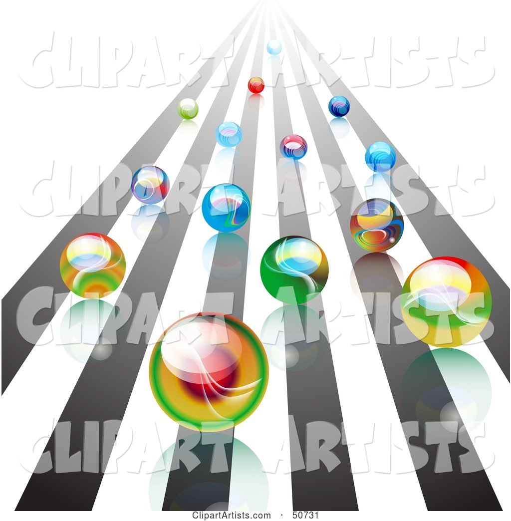 Group of Racing Colorful Marbles Rushing Forward on a Track