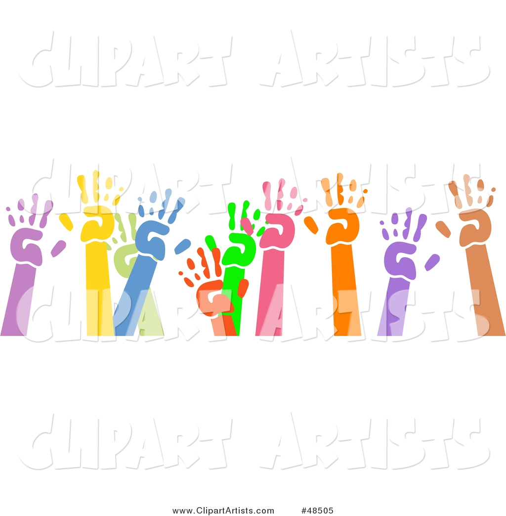 Group of Raised Colorful Hand Prints on White