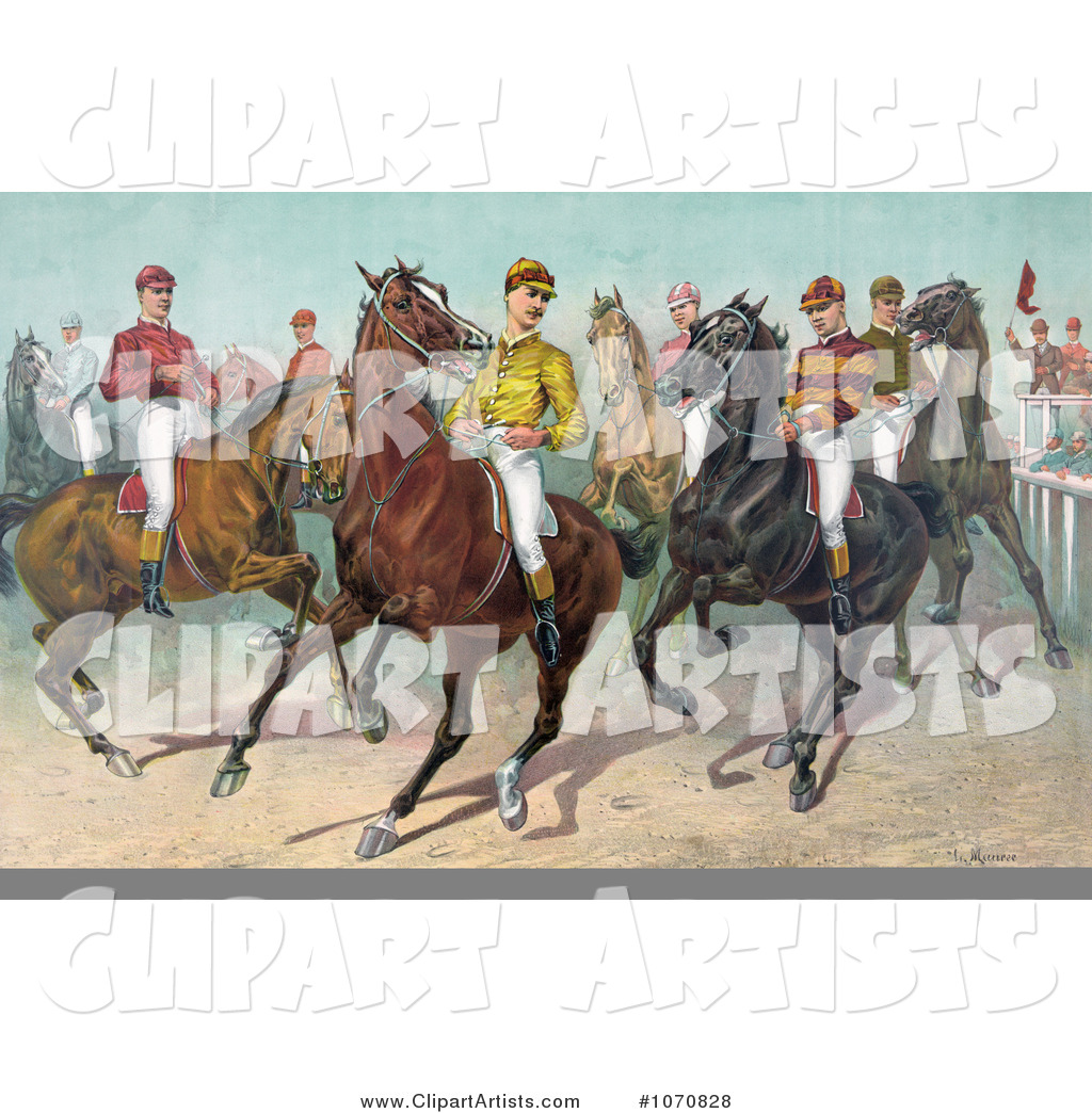 Group of Seven Jockeys on Horseback, Ready for a Race