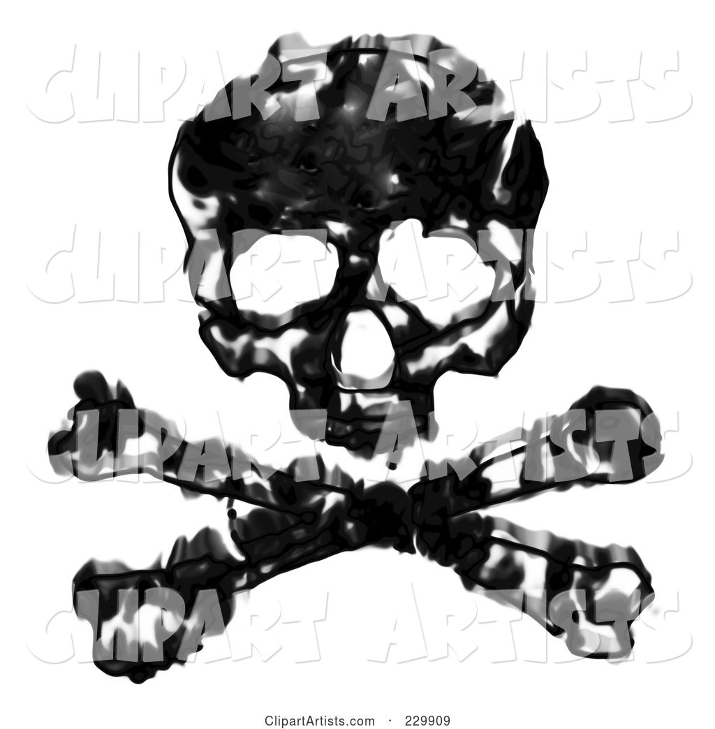 Grungy Black and White Skull and Crossbones