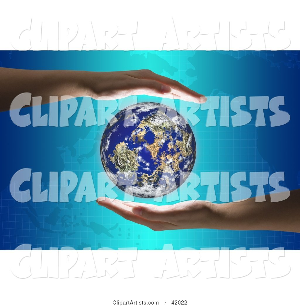 Hands Around the Globe on a Map Background
