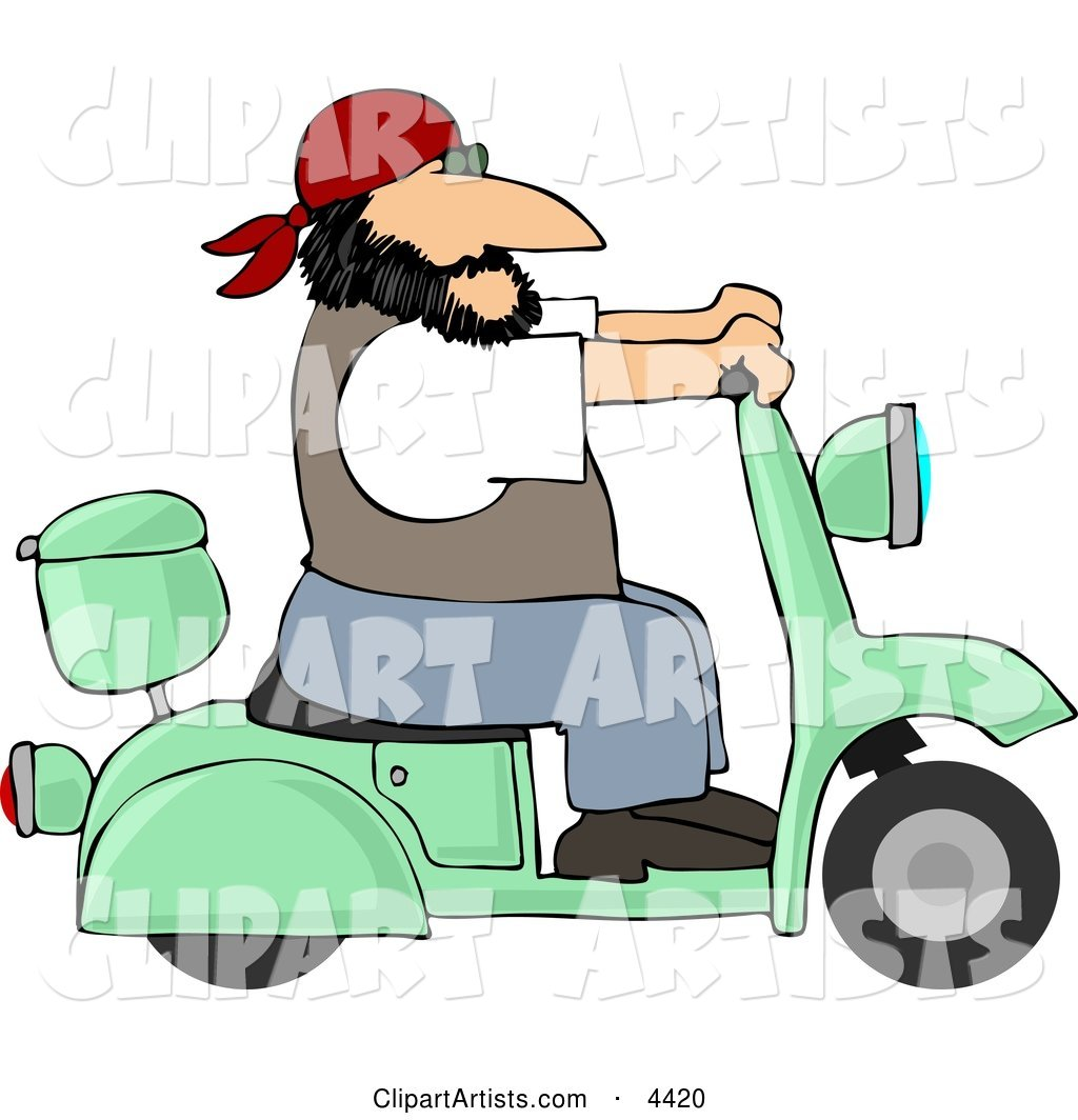 Harley Biker Man Wearing a Bandanna and Driving a Motor Scooter