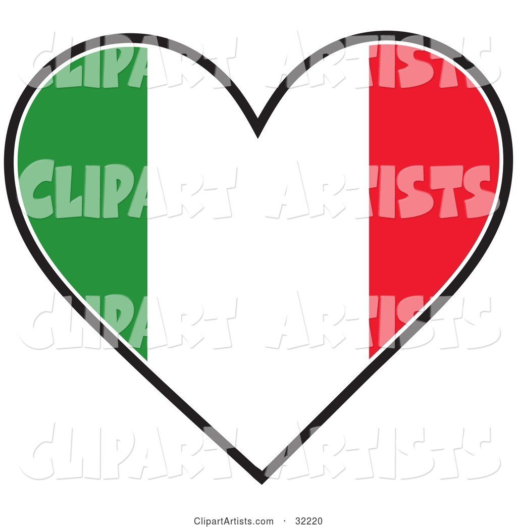 Heart Shaped Green, White and Red Tricolor Italian Flag, on a White Background