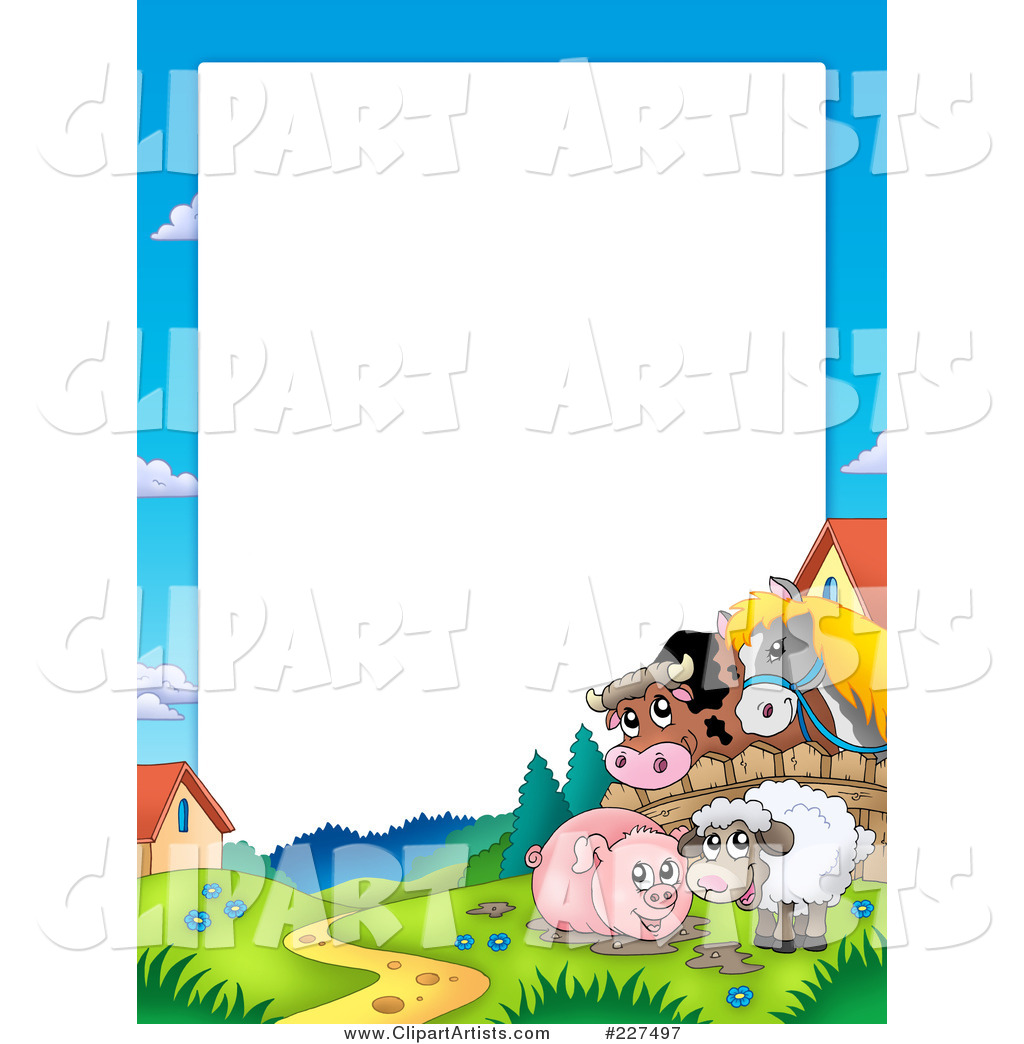 Horse and Cow Looking over a Fence at a Pig in Mud and Sheep Border Frame