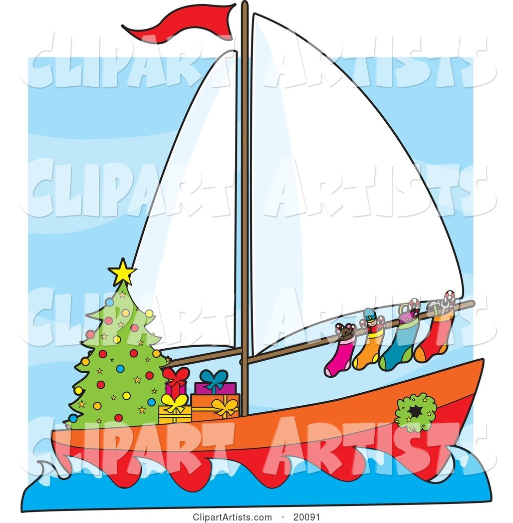 Humorous Scene of a Sailing Sailboat with Hung Stockings, a Wreath Around the Window and Gifts Under a Christmas Tree