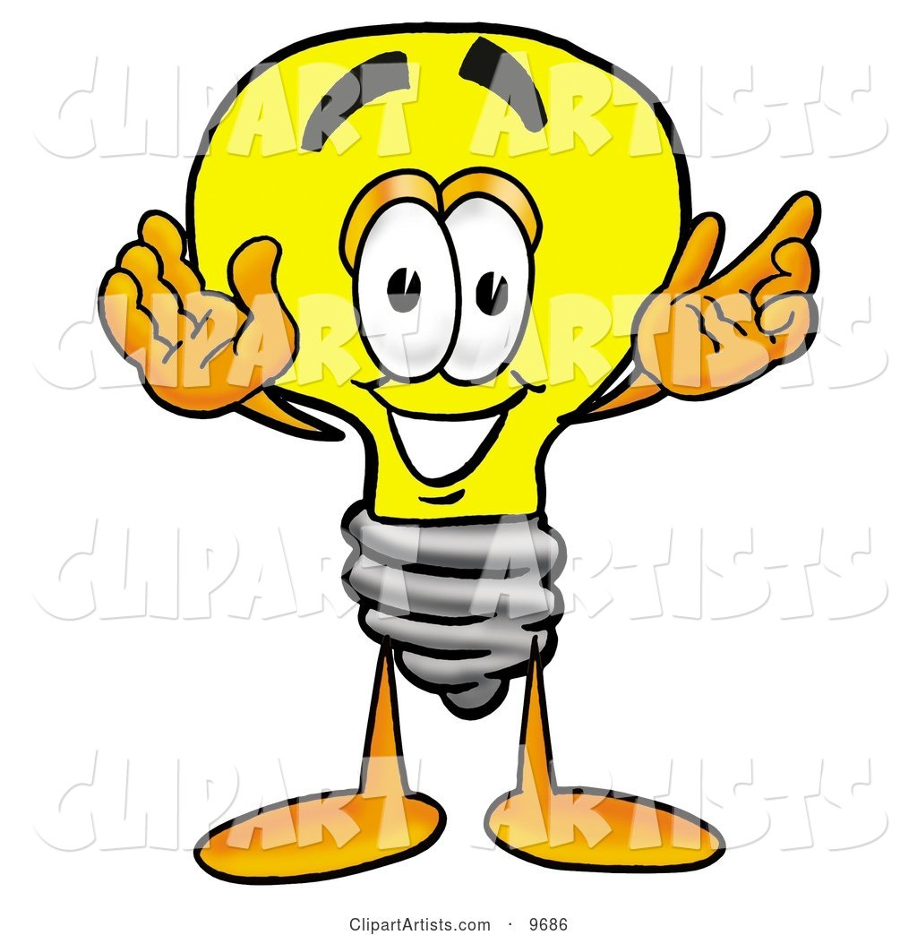 Light Bulb Mascot Cartoon Character with Welcoming Open Arms