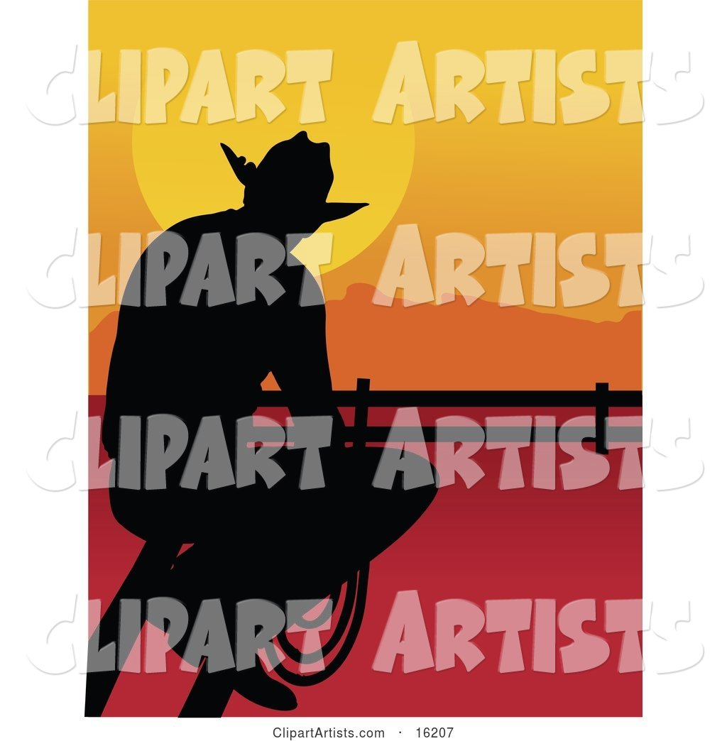 Lonely Cowboy Silhouetted at Sunset, Sitting on a Fence and Holding a Rope While Watching the Sun Go down